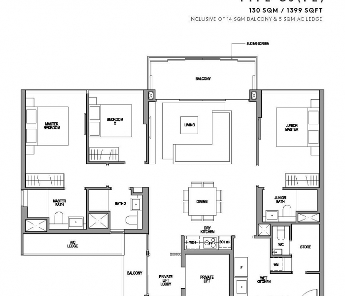 玛庭豪苑三卧室(豪华)平面图 Martin Modern 3 Bedroom Premium Floor Plan