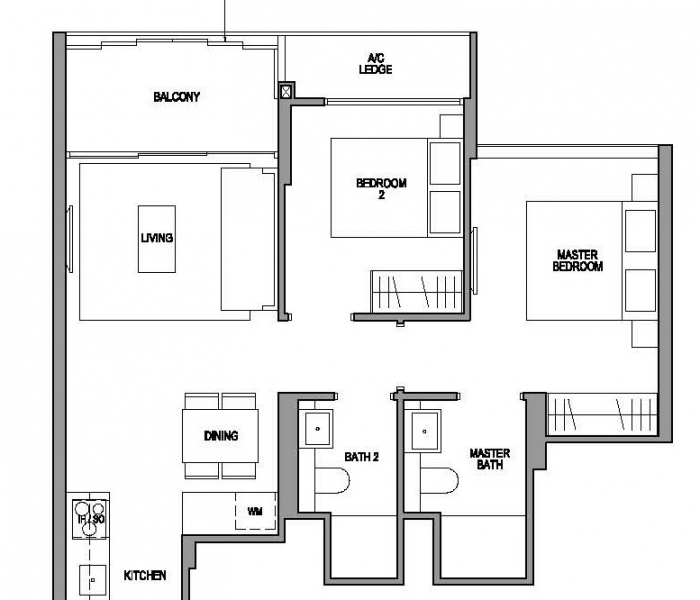 玛庭豪苑二卧室平面图 Martin Modern 2 Bedroom Floor Plan