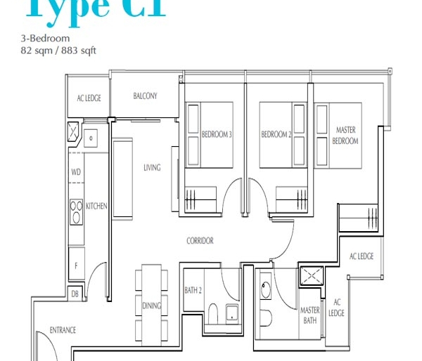 Jui Residences 3卧平面图 Jui Residences 3 Bedroom Floor Plan