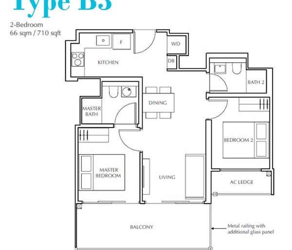 Jui Residences 4卧平面图 Jui Residences 2 Bedroom Floor Plan