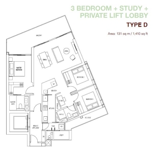 Artra-3-Bedroom-+-Study-Type-D