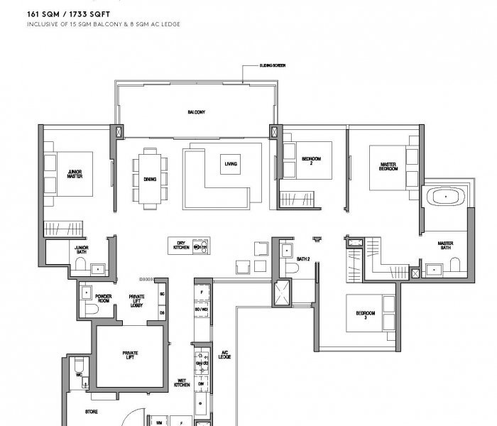 玛庭豪苑四卧室(豪华)平面图 Martin Modern 4 Bedroom Premium Floor Plan