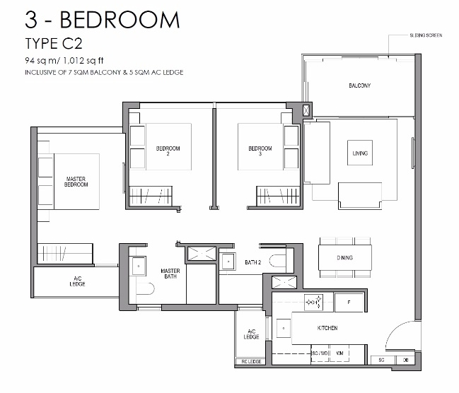 玛庭豪苑三卧室平面图 Martin Modern 3 Bedroom Floor Plan
