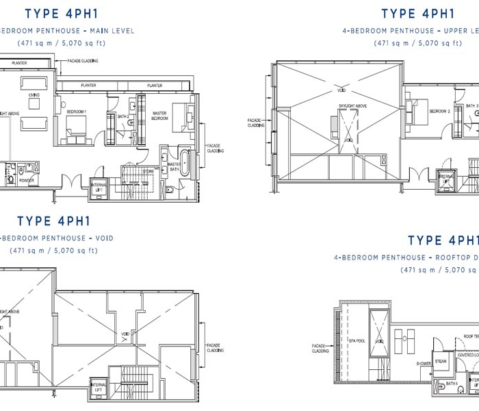 风华南岸府顶层复式平面图 South Beach Residences Penthouse Floor Plan