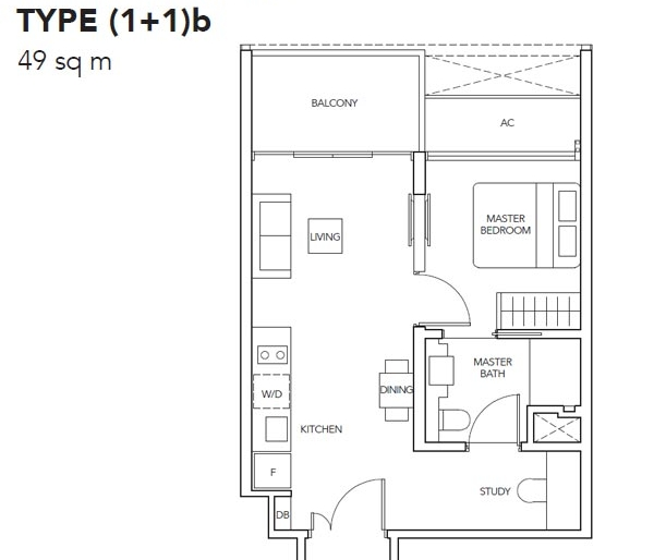 The Jovell 1卧加书房平面图 The Jovell 1 Bedroom + Study Floor Plan