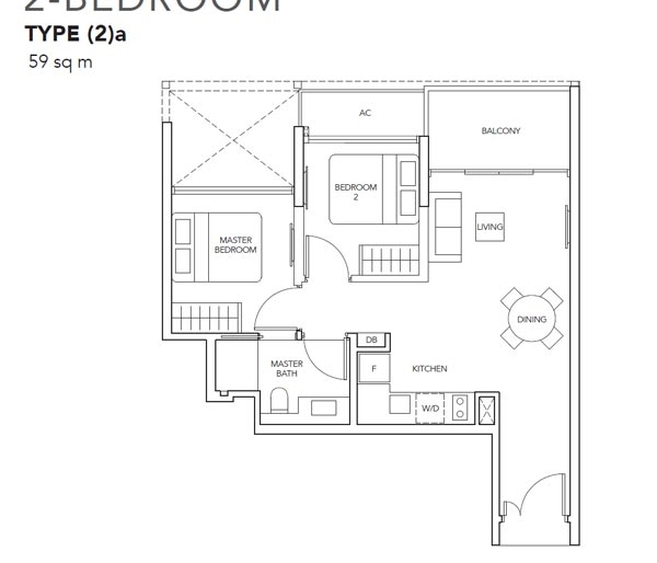 The Jovell 2卧平面图 The Jovell 2 Bedroom Floor Plan
