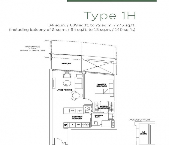 滨海盛景豪苑1卧平面图 Marina One Residences Marina One Residences 1 Bedroom Floor Plan
