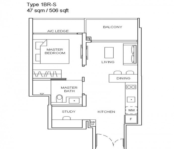 Stirling-Residenecs-1-Bedroom-Floor-Plan-2