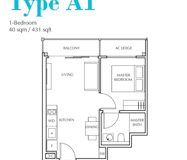 Jui Residences 1卧平面图 Jui Residences 1 Bedroom Floor Plan