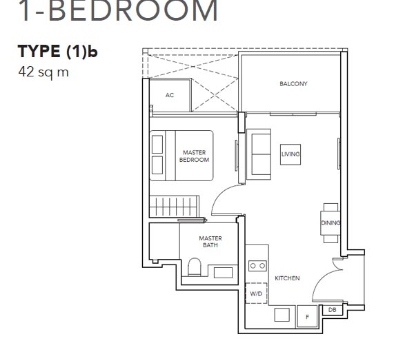 The Jovell 1卧平面图 The Jovell 1 Bedroom Floor Plan
