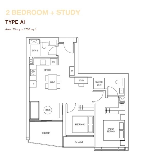 Artra-2-Bedroom-+-Study-Type-A1